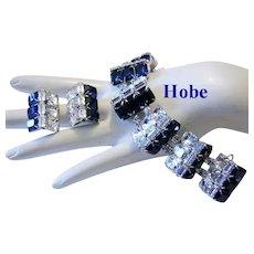 1960's HOBE Sapphire & Diamond Like BAGUETTE Rhinestones BRACELET & Earrings