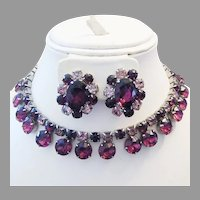 1960's Shades of PURPLE & Plum Rhinestones NECKLACE & Earrings