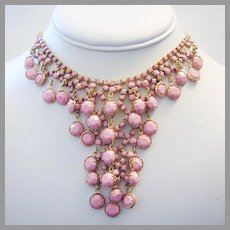 1960's RUNWAY Faceted Opaque PINK Rhinestones Cascading BIB Necklace