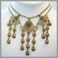 1930's VICTORIAN Etruscan Revival Ornate Dangling FESTOON Necklace