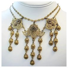 1930's VICTORIAN Etruscan Revival Ornate Dangling FESTOON Necklace
