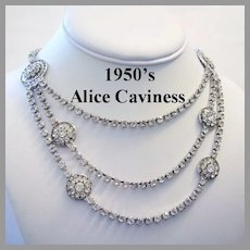 1950's ALICE CAVINESS Book Piece Draped FESTOON Rhinestone Necklace With Pave Stations