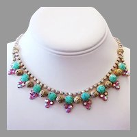 1960's COLORFUL Rhinestones & MOTTLED Glass Necklace