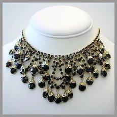 1960's Dramatic Open Back RHINESTONES & Filigree Caps Sassy BIB Necklace
