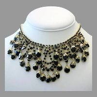 1960's Dramatic Open Back RHINESTONES & Filigree Caps Sassy BIB Necklace