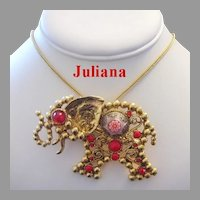 JULIANA BOOK Piece Large Moroccan Matrix  Figural ELEPHANT Pin / Pendant / Necklace