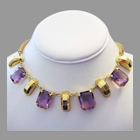 1960's Bold PURPLE Faceted Glass & Golden Design NECKLACE
