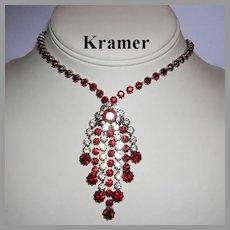 1960's KRAMER Ruby Red & Diamond Like RHINESTONES Dangling Necklace