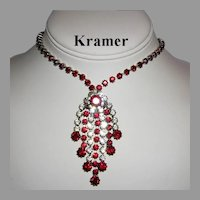1960's KRAMER Ruby Red & Diamond Like RHINESTONES Dangling Necklace