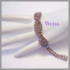 WEISS Light Purple Twisted RHINESTONES & Baguettes Bracelet