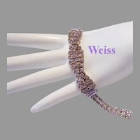 WEISS Light Purple Twisted RHINESTONES & Baguettes Bracelet