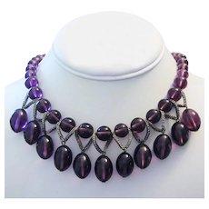 LOUIS ROUSSELET Purple/ Plum French GLASS Superb Fringe Necklace