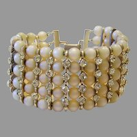 1960's WIDE Luminous Champagne Baubles & Lemon RHINESTONES Statement Bracelet