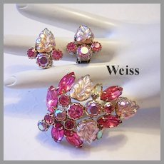 WEISS Carved Luminous GLASS & Pink Rhinestones Pin & Earrings