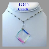 RARE 1920's ART DECO Colorful PRISM Iris Crystal / Glass CZECH Long Necklace