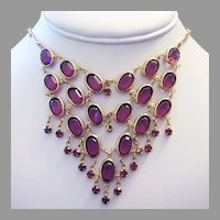 1960's PURPLE / Amethyst Open Back GLASS & Rhinestones Dangling Reversible BIB Necklace