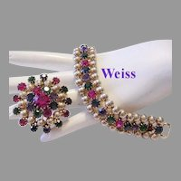 WEISS Rarely Seen COLORFUL Rhinestones & Golden TEXTURED BALLS Bracelet & Pin