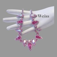 WEISS Dazzling Fuchsia & Ballet PINK Rhinestones With HALO's Necklace