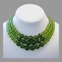 1960's OLIVINE Chinese Import Faceted CRYSTAL / Glass Triple Strand NECKLACE