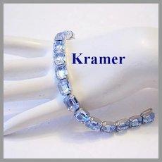 KRAMER Impossible To Find POOLS Of Light Sky BLUE Emerald Shape RHINESTONES Bracelet
