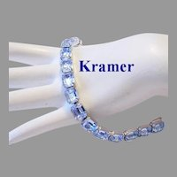 KRAMER Impossible To Find POOLS Of Light Sky BLUE Emerald Shape RHINESTONES Bracelet