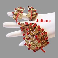 JULIANA Book Piece HEXAGON / Coffin Shape Colorful Rhinestones Pin & Earrings