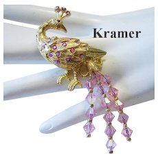 Rare 1960's KRAMER Pink Rhinestone & Crystal PEACOCK Figural Pin / Brooch