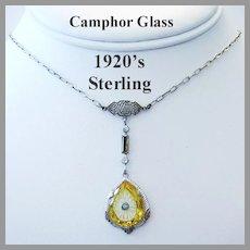 CIRCA 1910 Art Deco CAMPHOR GLASS & Crystal Sterling Silver RARE Necklace