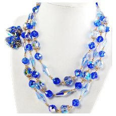 1960's AZURE Blue Crystals & PRYSTALS Dazzling 3 Strand BIB Necklace & Earrings