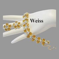 WEISS Seldom seen SQUARE Design Rhinestones BRACELET & Earrings