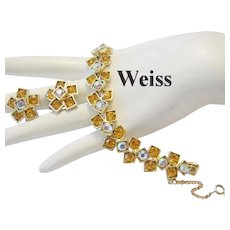 WEISS Seldom seen SQUARE Design Rhinestones BRACELET & Earrings