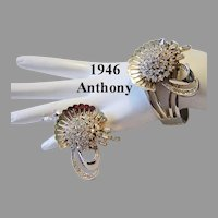 1946 Signed ANTHONY Rare Lavish Rhinestone BRACELET & Pin / Brooch