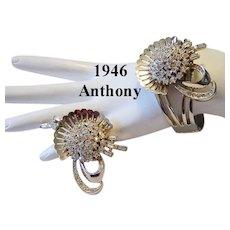 1946 Signed ANTHONY Rare Lavish Rhinestone BRACELET & Pin / Brooch