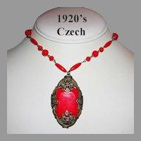 1920's Signed CZECH Deco / Nouveau Romantic RED Glass Ornate Design Necklace