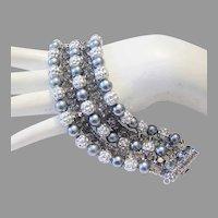1960's Faux TAHITIAN Black Pearl & Rhinestones Wide Bracelet