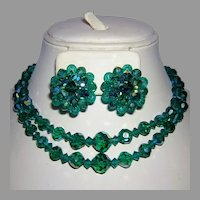 1950's Tantalizing TEAL Crystals Necklace & Earrings