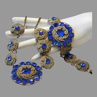 1920's Art DECO / NOUVEAU Exquisite Cobalt RHINESTONES Ornate Necklace & Bracelet