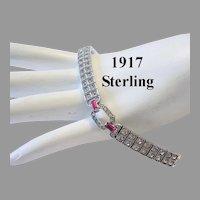 1917 Art Deco STERLING w/ Patent Date MAGENTA Baguettes & Rhinestones Bracelet