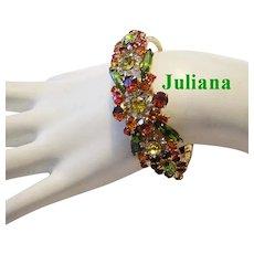 JULIANA Navette & Chaton RHINESTONES Brilliant Fall Colors CLAMPER Bracelet
