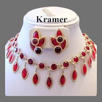 1960's KRAMER Romantic Red RHINESTONES Dangling Bib Necklace & Earrings