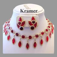 1960's KRAMER Regal Red RHINESTONES Lavish Dangling Bib Necklace & Earrings