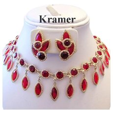 1960's KRAMER Regal Red RHINESTONES Lavish Dangling Bib Necklace & Earrings