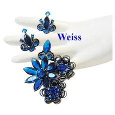 WEISS Impressive Electric PEACOCK Blue Rhinestones Pin/ Brooch & Earrings
