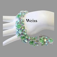 WEISS Radiant Sparkle PERIDOT / Apple Green Rhinestones Seldom Seen BRACELET