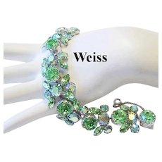 WEISS Radiant Sparkle PERIDOT / Apple Green Rhinestones Seldom Seen BRACELET