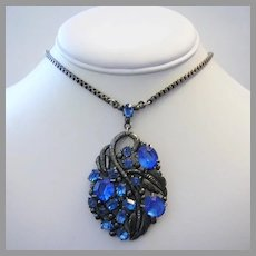 1920's / 30's ART DECO / Nouveau Design Persian BLUE Rhinestones Necklace