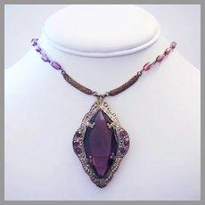 1920's ART DECO Purple / Amethyst GLASS & Rhinestones Long FLAPPER Necklace