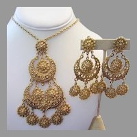 1960's RUNWAY Etruscan Design Necklace & CHANDELIER Earrings