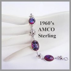 1960's AMCO Sterling & Glass With STAR Sapphire Like Design SUPERB Bracelet