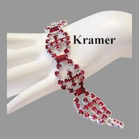 KRAMER Ravishing Red BAGUETTE & Rhinestones Bracelet